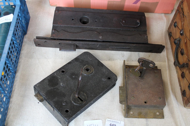 Three vintage door locks