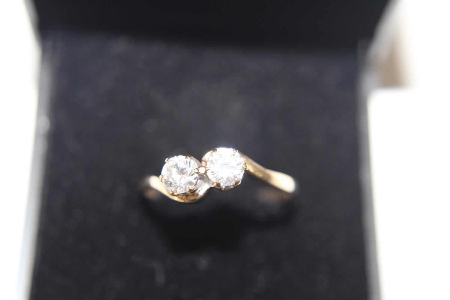 A 9ct gold twin stone ring size M 1/2