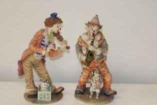 Two Leonardo clown figures. Height 36cm (as found)