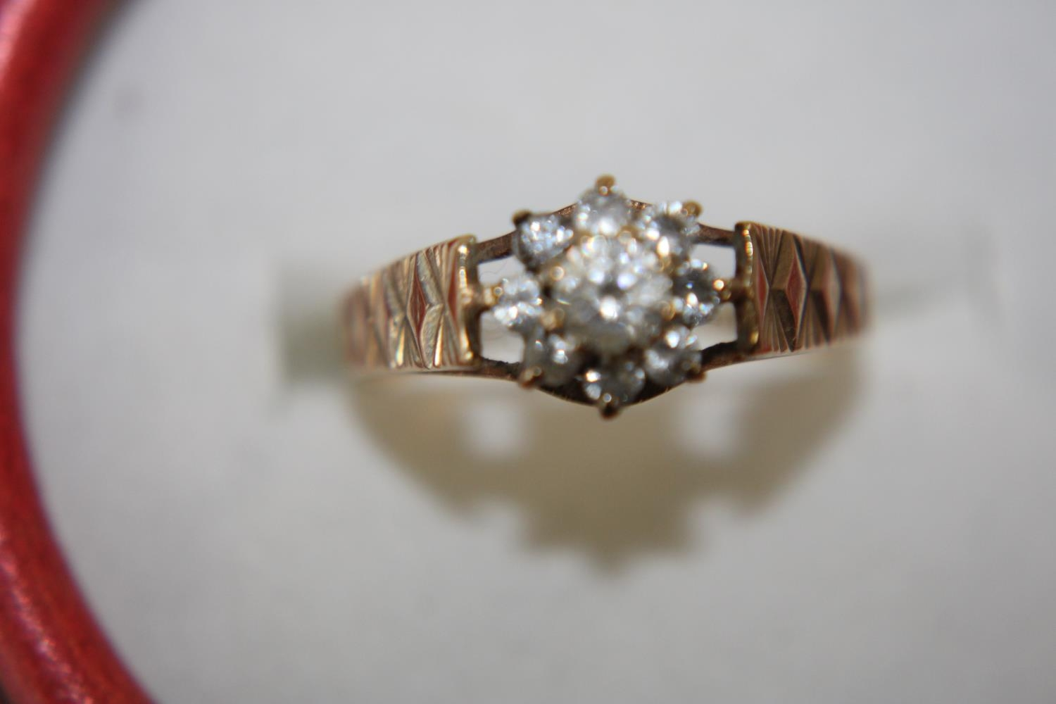 A 9ct gold white stone cluster ring size N 1/2