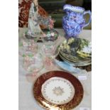 A selection of collectables, Rington's jug, coloured glass etc