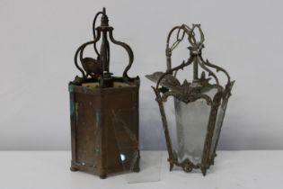 Two vintage lantern style lamps