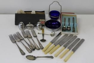 A selection of vintage silver plated cutlery etc
