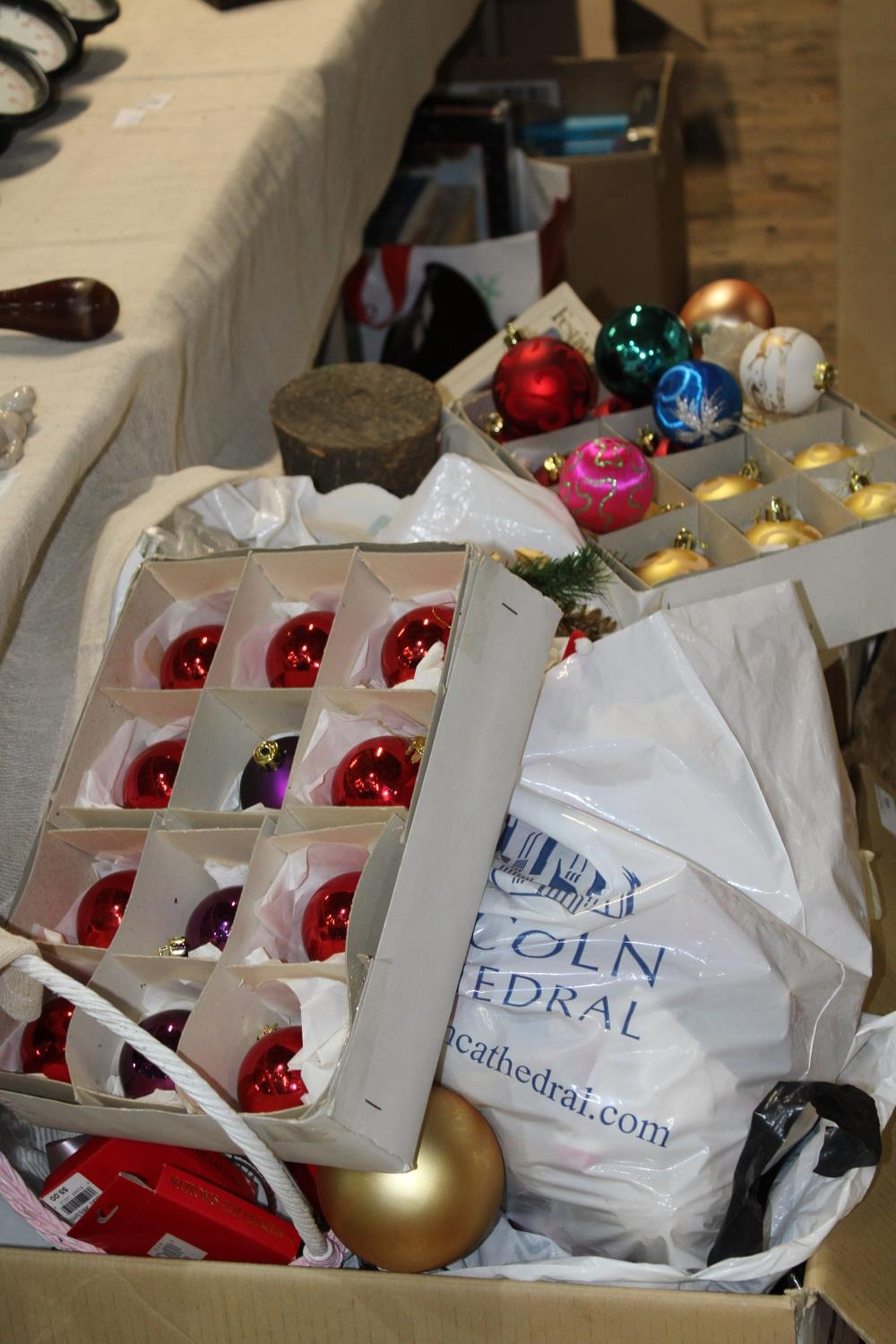 Two boxes of assorted Christmas decorations Collection Only