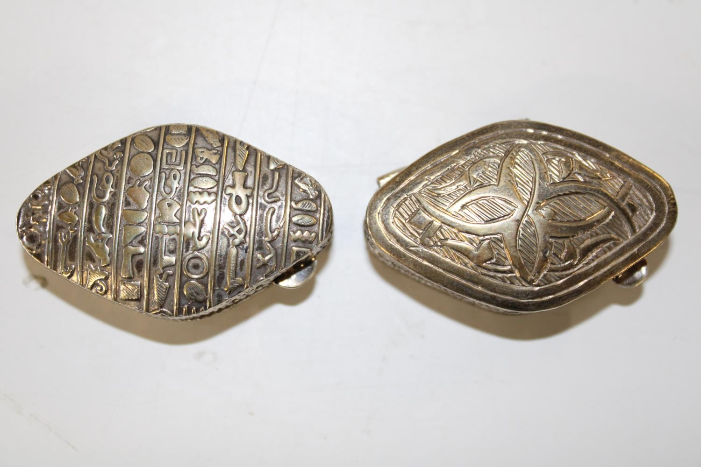 Two vintage Egyptian silver snuff/trinket boxes