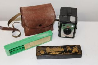 Two vintage pencil cases & Coronet box cammera