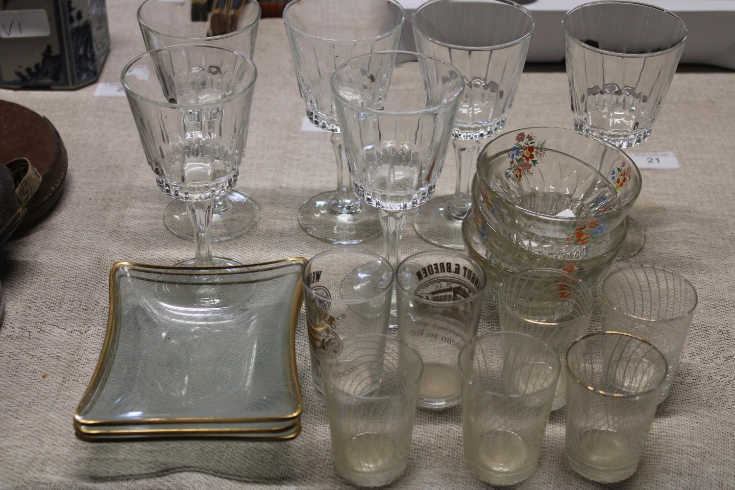 A selection of vintage glass ware etc