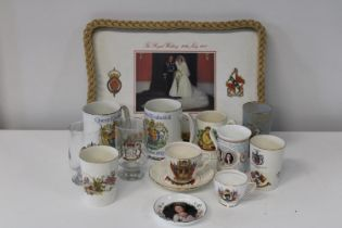 A tray of vintage commemorative wares etc