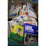 A box full of vintage Leeds United home/away programmes from the 1960's & 70's