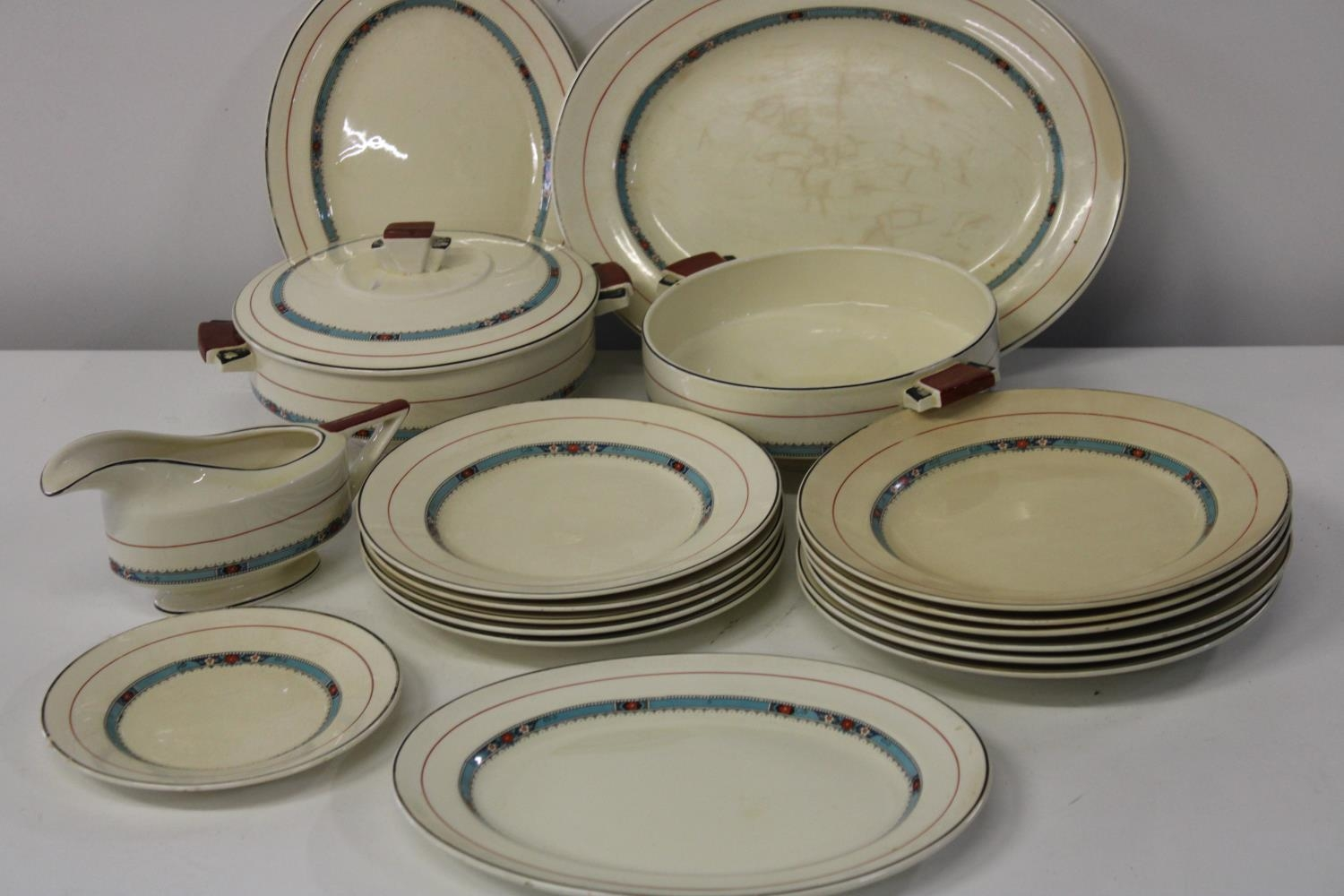 An Art Deco period part dinner service by Furnivals approx 19 pieces in total