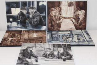 Five assorted oil on canvas pub scene pictures Size 40cm x 30cm