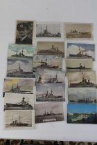 Eighteen Naval related postcards