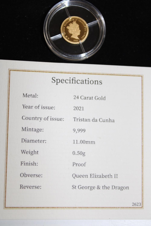 A 24ct 2021 gold Tristan da Cunha proof coin 0.5 grams