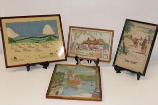 Three vintage wool work framed pictures