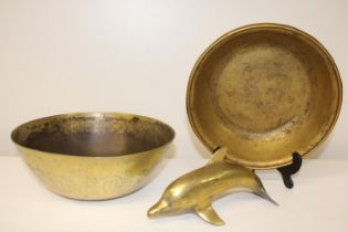 Two brass bowls & a brass dolphin