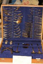 A vintage bronze boxed cutlery set