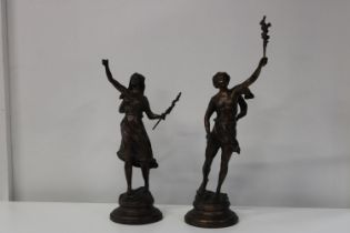 A pair of early 20th Century bronzes signed Rousseau h60cm