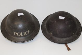 Two WW2 period tin helmets one by Hobson & Son London
