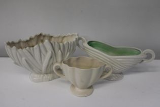 Three vintage ceramic planters including Sylvac etc