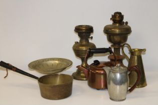 A selection of vintage brass & copper ware etc