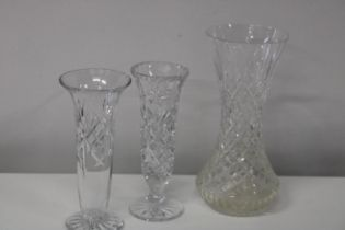 Three pieces of quality cut glass ware