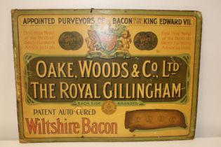 An original vintage printed on cardboard advertising sign for Wiltshire bacon 77x56cm Collection