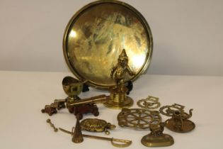 A good selection of novelty brass ware etc