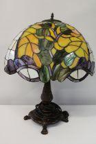 A large Tiffany style lamp base & shade (some slight damage to the shade) h70cm shade dia 51cm,