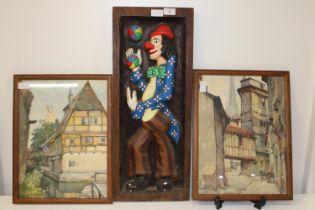 Three pieces of framed artwork
