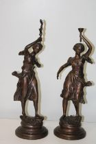 A pair of early 20th Century bronzes signed Rousseau h54cm
