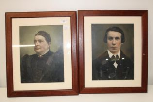 A pair of Victorian framed portraits 51x41cm