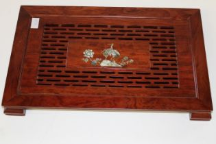 A Oriental rosewood tray with insert below. With MOP decoration. 54cm x 33cm