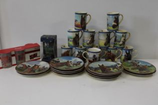 A box of horse racing related mugs & plates