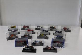 Eighteen die-cast motorbike models
