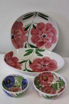 Four pieces of vintage ceramics. large bowl dia. 33cm
