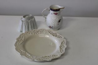 Three pieces of collectable ceramics including a Shelley jelly mold.