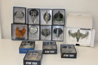 A large collection of Star Trek models
