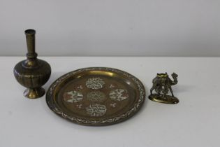 There pieces of Middle Eastern metal ware