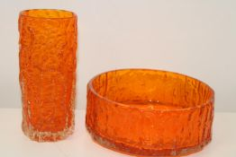 Two pieces of classic Whitefriars bark effect tangerine glass. Vase is 19cm tall & bowl is 20cm in