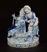 Jahreszeitengruppe Winter. Figurinengruppe mit unterglasurblauer und polychromer Bemalung. Entwurf