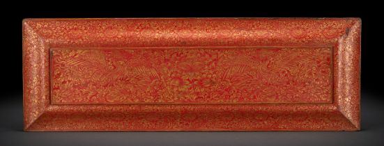 A FINE PAIR OF RED-LACQUERED WOODEN BOOK COVERS WITH FINE GILT PAINTING
