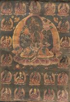A THANGKA WITH 21 FORMS OF TARA