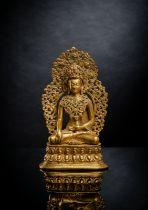 A FINE GILT-BRONZE FIGURE OF BUDDHA SHAKYAMUNI