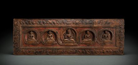A WOOD MANUSCRIPT COVER WITH FIVE DEITIES