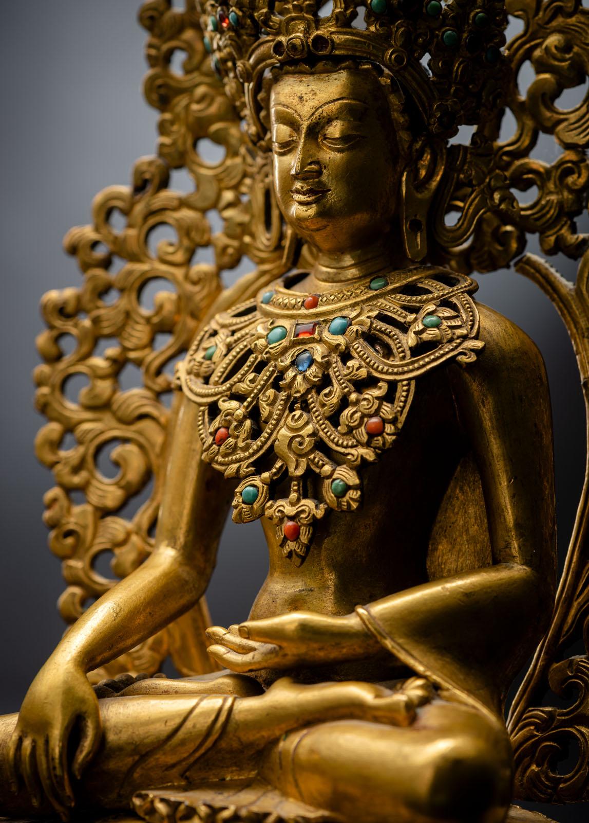 A FINE GILT-BRONZE FIGURE OF BUDDHA SHAKYAMUNI - Image 4 of 4
