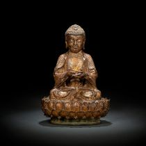 A GILT-LACQUERED AND PAINTED BRONZE FIGURE OF SEATED BUDDHA
