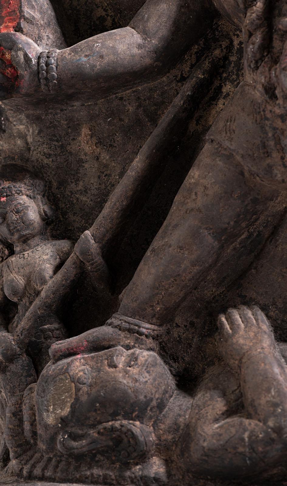 A BLACK-STONE STELE DEPICTING BHAIRAVI - Image 4 of 5