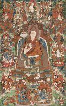 A BROCADE MOUNTED THANGKA DEPICTING THE VII DALAI LAMA Kelsang Gyatsho