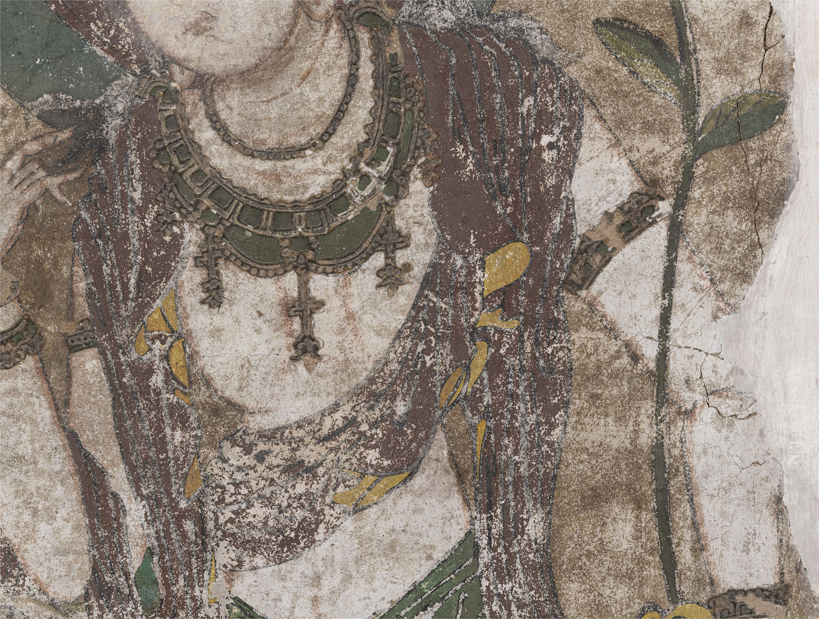 A RARE STUCCO PAINTING OF GUANYIN - Image 6 of 9