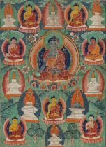 A THANGKA DEPICTING THE EIGHT MEDICINE BUDDHAS SURROUNDED BY EIGHT STUPAS